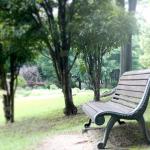 公園のベンチで弾くギター